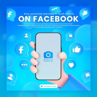 Mano che tiene le icone di facebook del telefono intorno al modello di rendering 3d per il modello di post di facebook di promozione