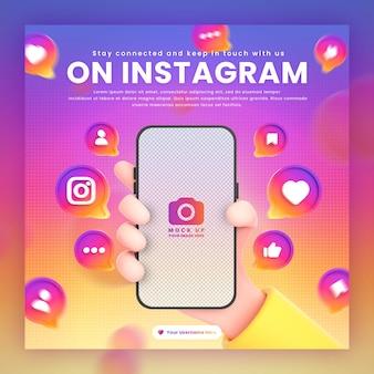 Mano che tiene le icone di instagram del telefono intorno al modello di rendering 3d per il modello di post di instagram di promozione