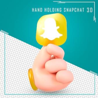 Mano che tiene le icone di snapchat con rendering 3d