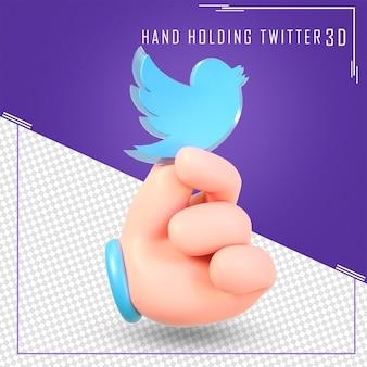 Mano che tiene le icone di twitter con rendering 3d