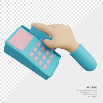 La mano sta facendo scorrere la carta di credito o di debito nel lettore di carte 3d reso
