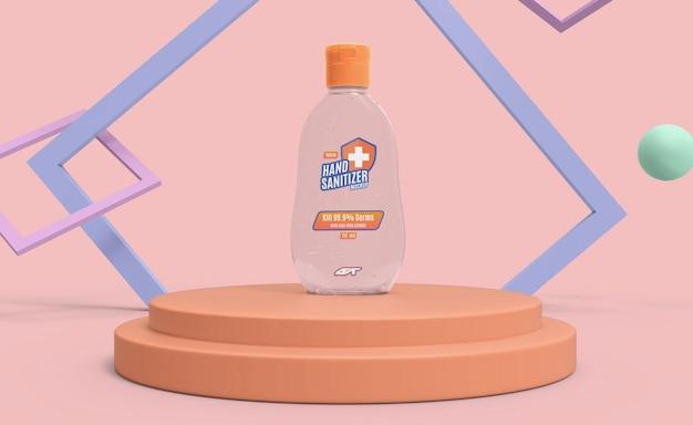 Mockup di bottiglia di gel disinfettante per le mani