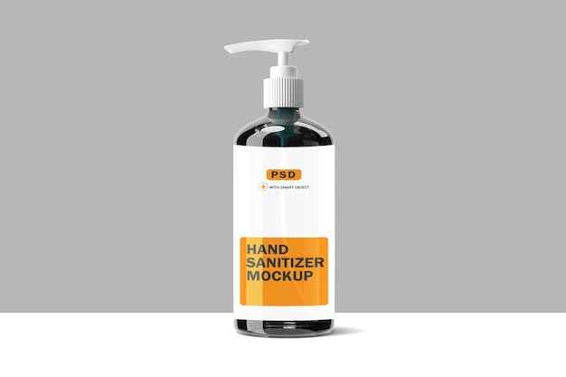 Mockup di bottiglia di vetro disinfettante per le mani