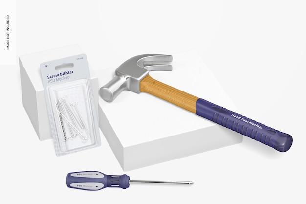 Set di strumenti manuali mockup, prospettiva