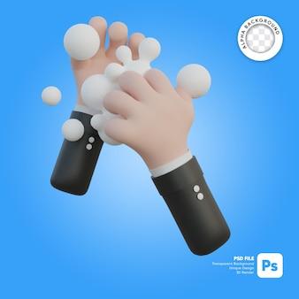 Illustrazione 3d di lavaggio a mano