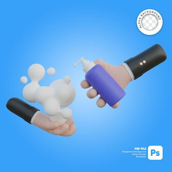 Lavaggio delle mani e illustrazione 3d di una bottiglia di sapone