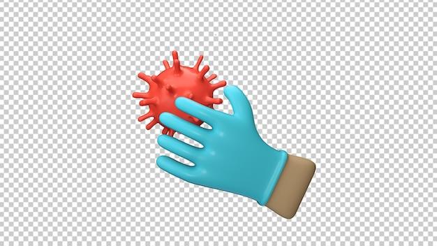 Mani che indossano guanti protettivi blu isolati nel rendering 3d