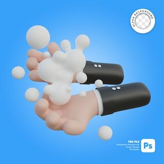 Illustrazione 3d di lavaggio delle mani e bolle
