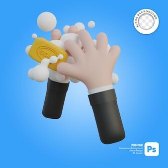 Lavarsi le mani con l'illustrazione 3d del sapone