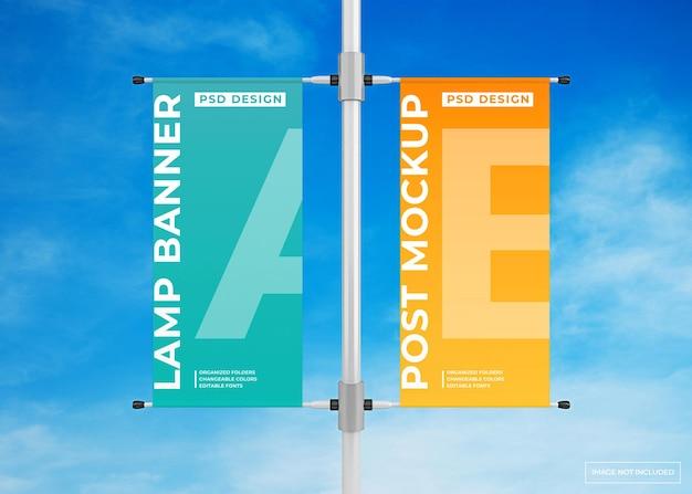 Mockup di poster pubblicitario banner lampada a sospensione
