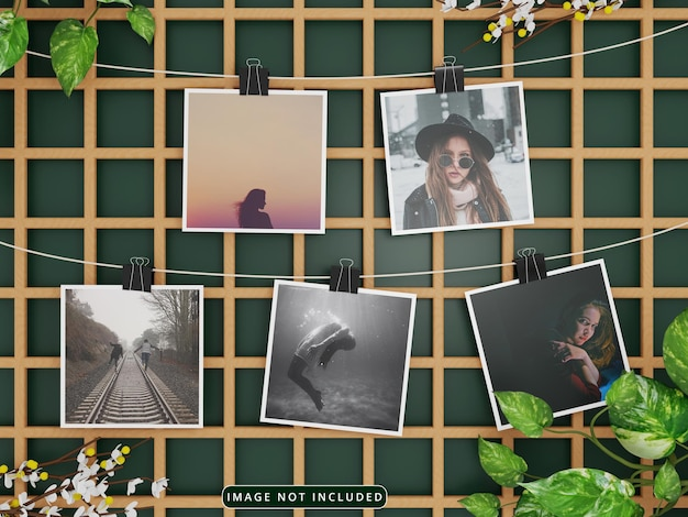 Mockup di foto di carta appese