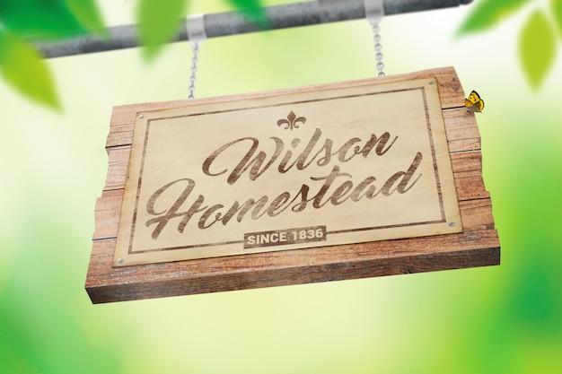 Appeso cartello in legno con mockup di carta vintage