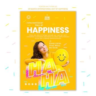 Modello di poster del giorno della felicità