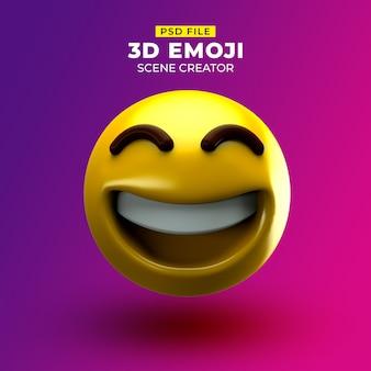 Felice emoji 3d con volto ghignante con occhi sorridenti