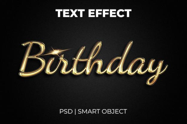 Buon compleanno 3d effetto testo tipografia dorata su sfondo nero