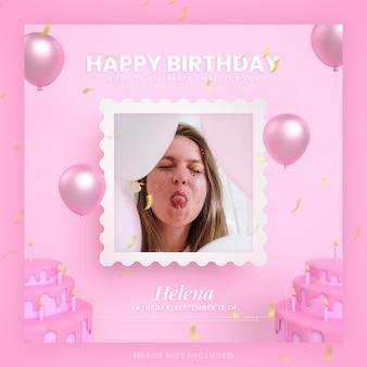 Biglietto d'invito per torta di buon compleanno per modello di post sui social media instagram rosa con mockup