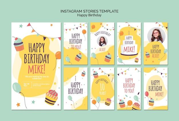 Modello di storie di instagram di concetto di buon compleanno