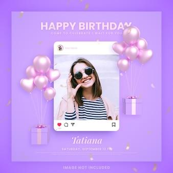Biglietto d'invito di buon compleanno per modello di post sui social media instagram viola con mockup
