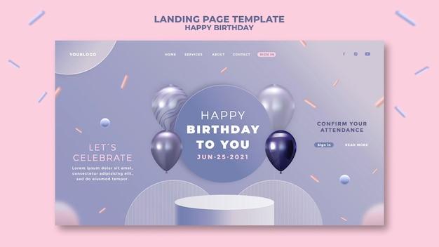 Pagina di destinazione di buon compleanno