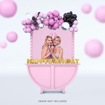 Mockup di cornice per foto di colore rosa di buon compleanno