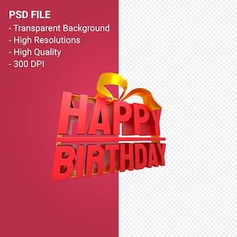 Buon compleanno con fiocco e nastro 3d design isolato