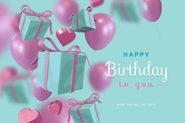 Buon compleanno con scatola regalo palloncino amore 3d rendering mockup