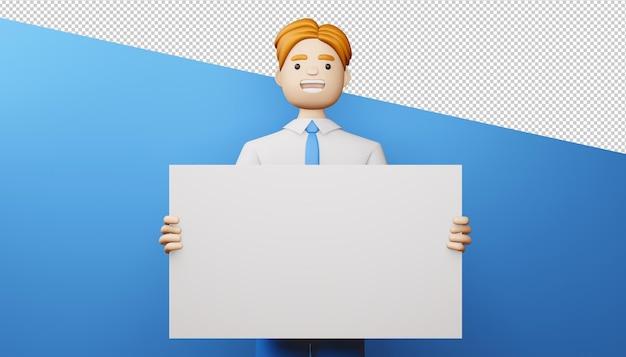 Uomo d'affari felice con rendering 3d schermo vuoto