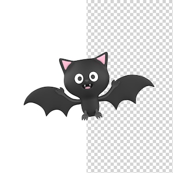 Felice carino sorridente halloween pipistrello nero 3d render modello isolato sfondo bianco