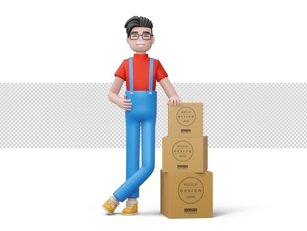 Uomo di consegna felice con scatola pacchetto in rendering 3d