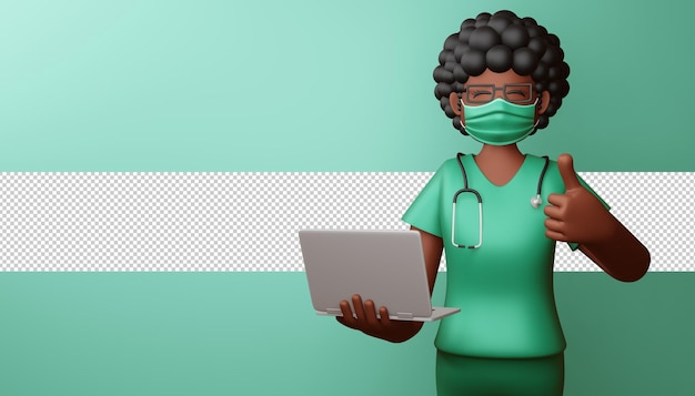 Felice medico indossando la maschera thumbs up con notebook rendering 3d Psd Premium