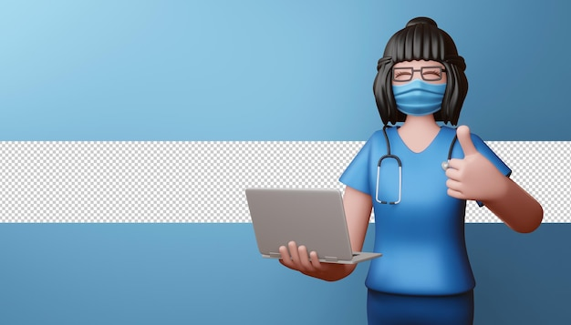 Felice medico indossando la maschera thumbs up con notebook rendering 3d