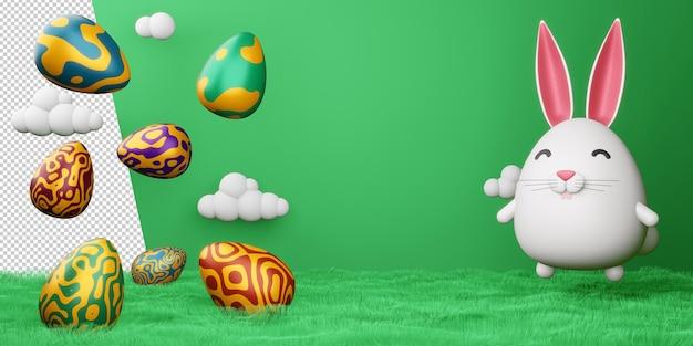 Coniglietto sveglio di giorno di pasqua felice con la rappresentazione variopinta dell'uovo 3d