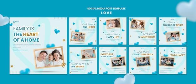 Post di social media di famiglia felice