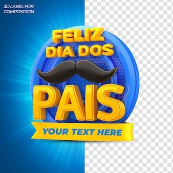 Felice festa del papà con podio blu per il rendering 3d delle campagne brasiliane