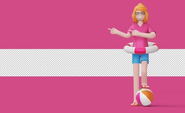 Ragazza felice che indica dito nell'anello di nuotata su un rendering 3d di un pallone da spiaggia