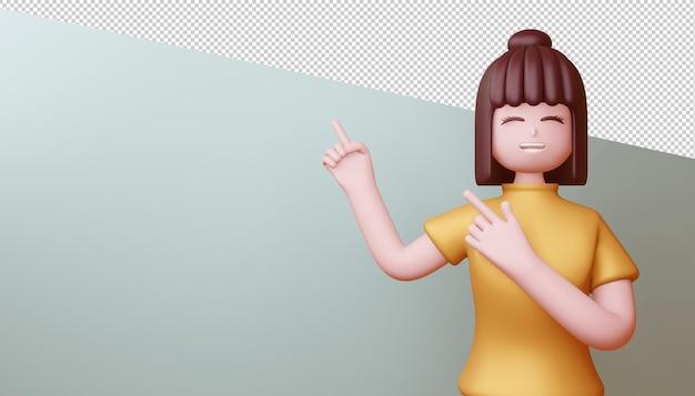Ragazza felice che indica le dita, rendering 3d.