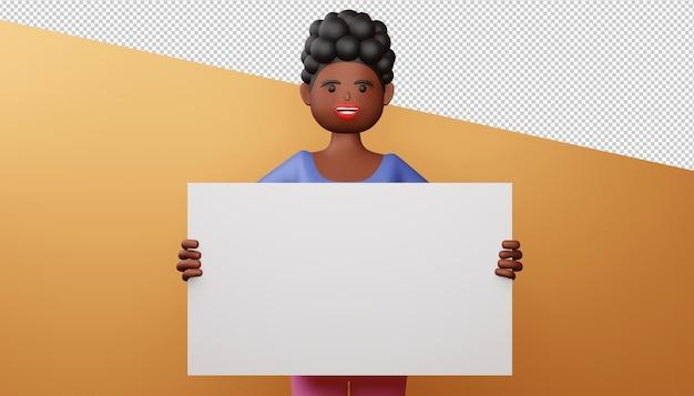Ragazza felice con rendering 3d schermo vuoto