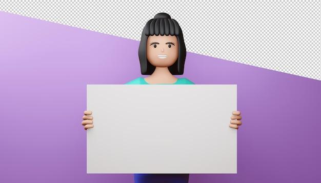 Ragazza felice con rendering 3d schermo vuoto Psd Premium