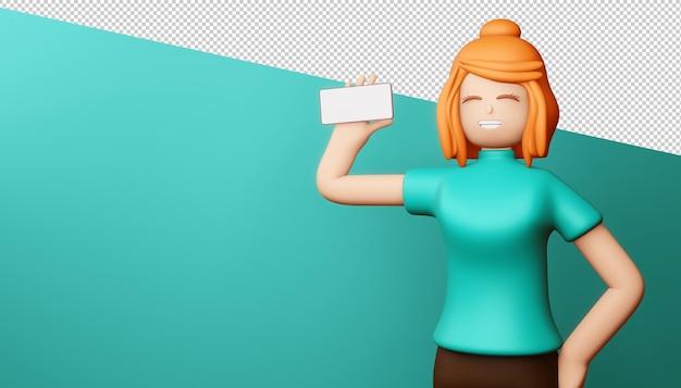 La ragazza felice con lo schermo del telefono è vuota, lo shopping online, il rendering 3d.