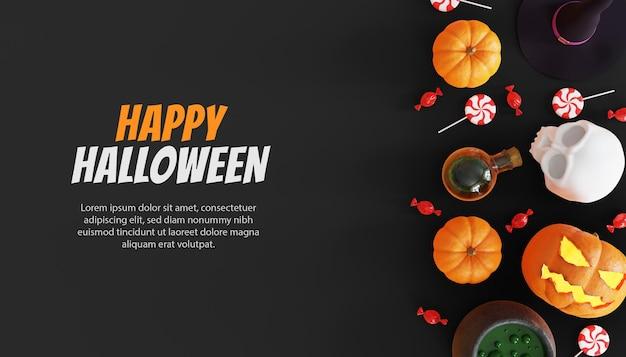 Felice halloween 3d sfondo con zucca
