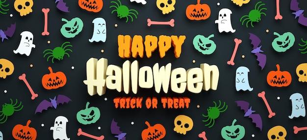 Felice sfondo di halloween con cose colorate carine e scritte in 3d