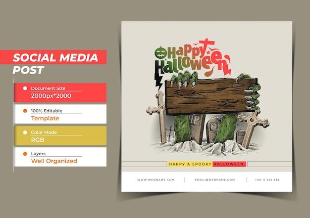 Happy halloween festival digital concept instagram e social me