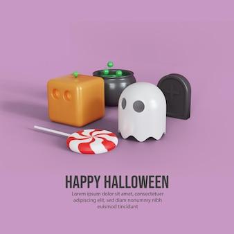 Buon halloween con zucca carina e sfondo fantasma