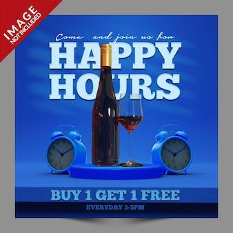 Happy hours per ristorante caffetteria bar social media post o volantino modello di promozione psd premium