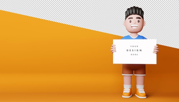 Bambini felici con lo schermo in bianco, bordo vuoto nella rappresentazione 3d