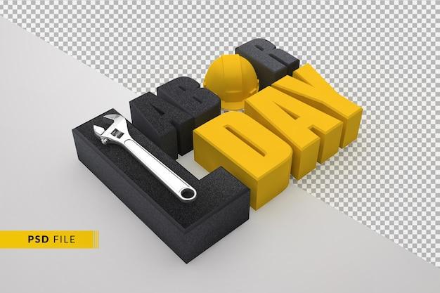 Concetto di festa del lavoro felice con testo 3d e chiave inglese e casco da costruzione