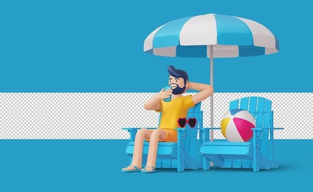 Uomo felice sulla sedia a sdraio con pallone da spiaggia rendering 3d