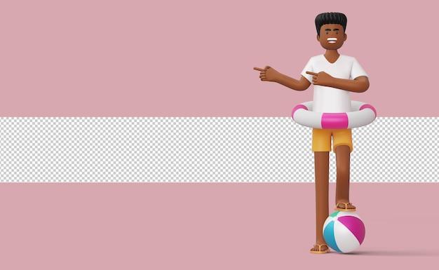 Uomo felice che indica dito nell'anello di nuotata su un rendering 3d di un pallone da spiaggia Psd Premium