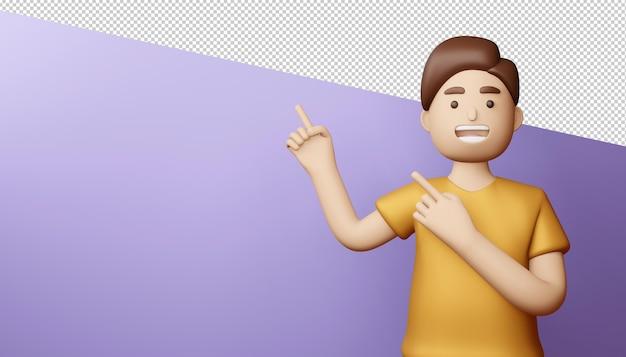 Uomo felice che indica il rendering 3d delle dita Psd Premium