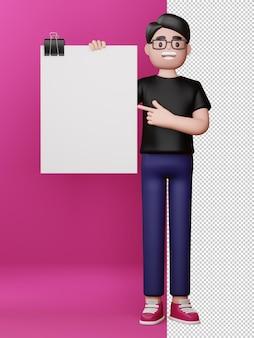 Uomo felice con lo schermo in bianco e la rappresentazione vuota della scheda 3d
